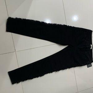 Elan Fringed Side Black Jeans - Medium